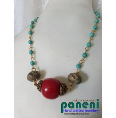 SEMI PRECIOUS STONES - TURQUOISE BEADS WITH SOAP STONE BEADS