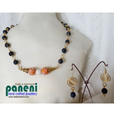 Semi Precious Stone - Agate with Orange Lampwork Beads