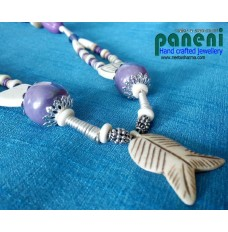 BONE AND HORN BEADS WITH FISH PENDANT