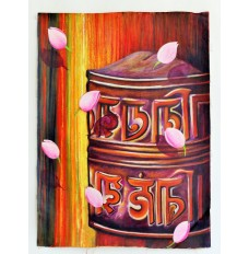 Painting - Spin the Prayer Wheel (Art - Oil Painting)