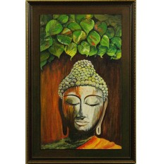 Buddha attaining Enlightenment (art - acrylic painting)