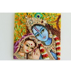 Radha Krishna - Attractive couple (art - mixed media painting on tile)