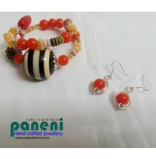 Wire Wrapped Orange Ear Rings With Bracelet-Glass and Candy Round Resin Beads