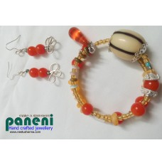 Wire Wrapped Orange Ear Rings with Bracelet-Glass and Oblong Candy Round Resin Beads