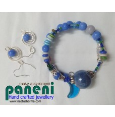WIRE WRAPPED GLASS BLUE EAR RINGS WITH BRACELET-GLASS AND CERAMIC BEADS