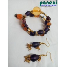 WIRE WRAPPED FROSTY PURPLE EAR RINGS WITH BRACELET-GLASS AND AMBER RESIN BEADS