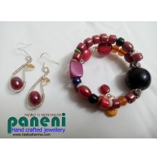 Wire Wrapped Glass Red Ear Rings with Bracelet-Glass and Ceramic Beads