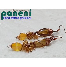 01- WIRE WRAPPED AMBER COLOUR EAR RINGS (Hand crafted)