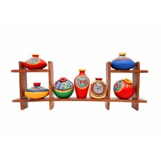 Wooden Stand with Seven Elegant Terracota Handpainted Pots