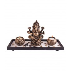 Ganesha with Two Round Tea Light Holders