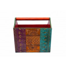 Jodhpuri Magazine Stand Embossed with Multicolours (11.5 Inch Tall )