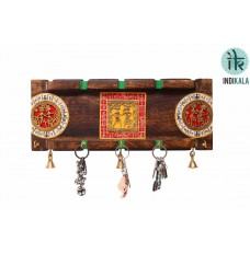 Dhokra and Warli work Key Ring Holder with Three Bells and Five Hooks (15 Inch Wide)