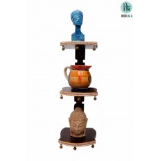 Wooden Stand with Three Flaps with Ghungroos at Base ,( Without Showpiece )(18 Inch Tall )