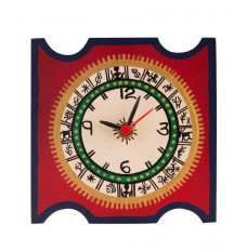 5 Inch Square Warli Painted Red Table Clock