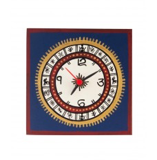 5 Inch Square Warli Painted Blue Table Clock