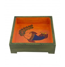7 Inch Square Ethnic Tray with Fish Figures