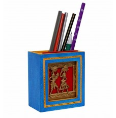 Dhokra Work & Wooden Blue  Pen Stand