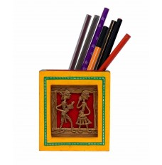 Dhokra Work & Wooden Yellow  Pen Stand