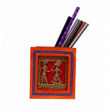 Dhokra Work & Wooden Red  Pen Stand