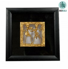 Indikala Pair of Square Shaped Dhokra Work Painting with Black silk border