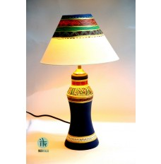 Indikala Terracotta Handpainted Tapered Blue Lamp