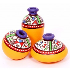 Indikala Yellow Terracotta Warli Handpainted Miniature Pots : Set Of 3