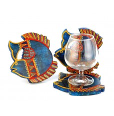 Indikala Blue Fish Shaped  Coasters Set of 3