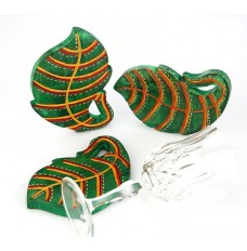 Indikala Green Leaf Shaped  coasters set 3 of