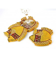 Indikala Yellow Fish Shaped  Coasters Set  of 3