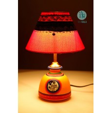 Terracotta yellow Lamp with Cream Shade