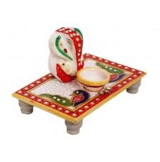 Indikala Ganesh Ji on Rectangular Chowki with Diya