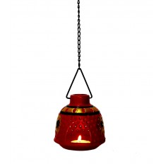 Indikala Red Hanging Tea Light Holder in Metal