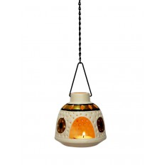 Indikala White Hanging Tea Light Holder in Metal