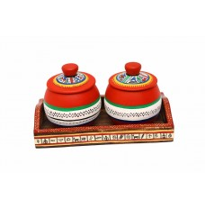 Indikala Set of Two Handpainted Jars, with Ethnic Wooden Tray