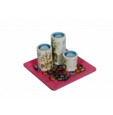 Indikala White and Blue Tea Light Candle Holders : Set of 3 : On a Pink Tray