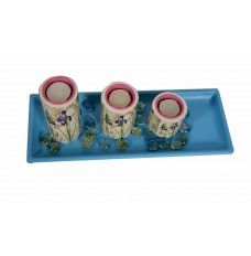 White and Pink  Tea Light Candle Holders : Set of 3 : On a Blue Tray
