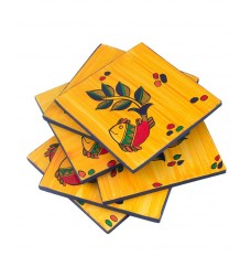 Indikala 4 Inch Square Coasters (Set of 6 ) with Fish Figure