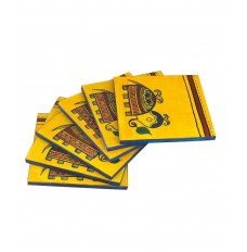 Indikala 4 Inch Square Coasters (Set of 6)  with Elephant Figure