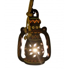 Indikala Hanging Blue Terracotta  Lamp with Bulb