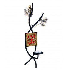 Indikala Wall Sconce In Dhokra Work And Wrought Iron