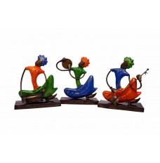 Set of 3 Multicoloured Punjabi Lunger Musicians ( 8 Inches Tall)