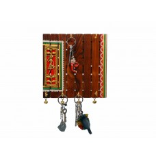 6 Hooks 4 Bells Dhokra Warli Keyring Holder ( 8 Inches tall)