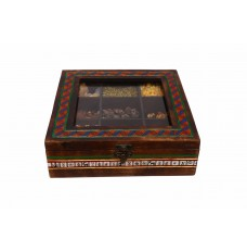 Ethnic Spice Box In Mango Wood with 9 Compartments