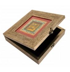 Indikala Grey Square Warli Dhokra Box ( 11 Inch )