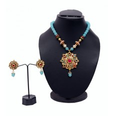 Turquoise Necklace with Semi Precious stones & Earings.