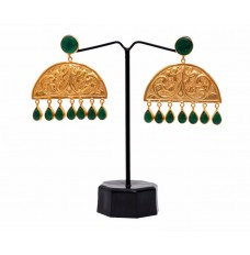 Crescent Shaped Traditional earrings (with Green Onyx)