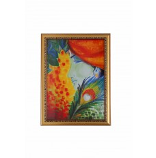 Peacock Feather Abstract Wall Painting  16 Inch X 12 Inch