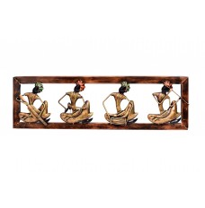 Set of 4 Ethnic Musicians Wall Décor  30 Inches Wide