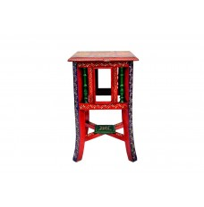 Rajasthani Hand Crafted Teak Wood Tile Planter Table ( 11 Inches Tall)