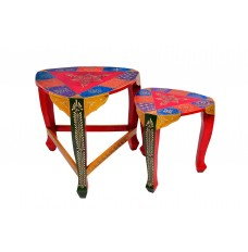 Rajasthani Round Lattoo Set of 2 Tables ( 18 Inches and 15 Inches tall)